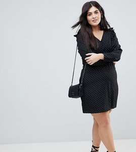 Read more about Fashion union plus tea dress with tie back in spot print - black