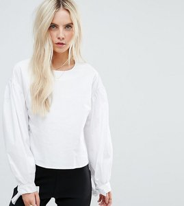 Read more about Glamorous petite smock blouse with ruffle tie cuffs - white