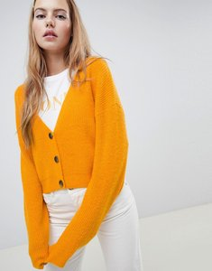 Read more about Asos design cardigan in fluffy yarn with buttons - mustard