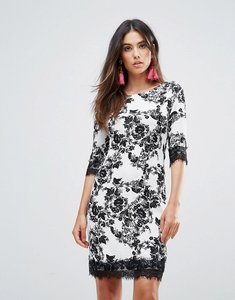 Read more about Zibi london floral shift dress with lace trim - black and white