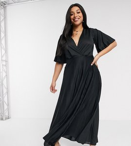 Read more about Asos design curve kimono pleated maxi dress - black