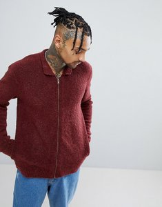 Read more about Asos boucle textured harrington jacket in burgundy - burgundy