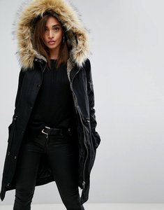 Read more about Asos parka with detachable faux fur liner - black