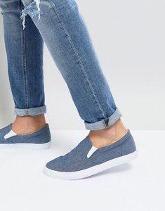 Read more about Asos slip on plimsolls in blue chambray - blue