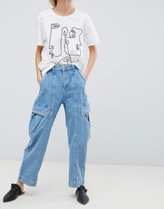 Read more about Asos design oversized wide leg jeans in light blue with utility styling - light blue
