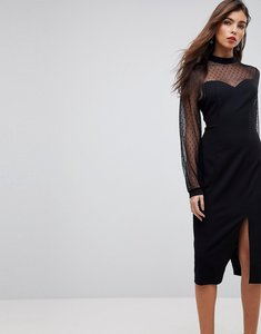 Read more about Asos long sleeve dobby mesh sweetheart neck midi dress - black