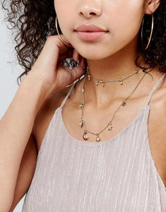 Read more about Asos multirow fine charm layered necklace - gold