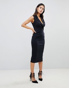 Read more about Asos sleeveless midi tux dress - black