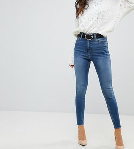 Read more about Asos design ridley high waist skinny jeans in bright blue wash - mid wash blue
