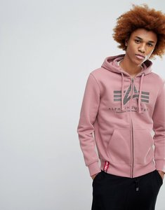 Read more about Alpha industries x-fit hoodie sweatshirt in silver pink - silver pink