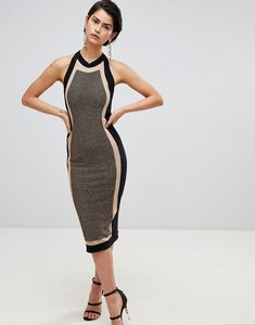 Read more about Forever unique panelled midi dress - black gold