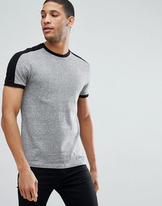 Read more about Asos design t-shirt with sleeve cut and sew in twisted jersey in grey - grey
