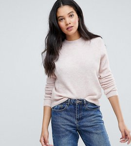 Read more about Asos tall jumper in fluffy yarn with crew neck - blush