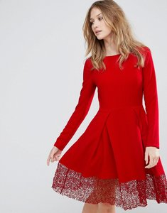 Read more about Traffic people long sleeve skater dress with lace insert - red