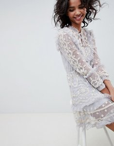 Read more about Needle thread long sleeve embroidered midi dress in vintage blue - vintage blue