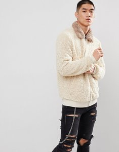 Read more about Asos harrington jacket in borg with contrast collar in beige - beige