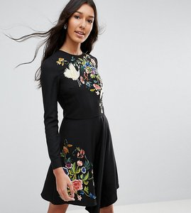 Read more about Asos tall pretty embroidered skater dress - multi