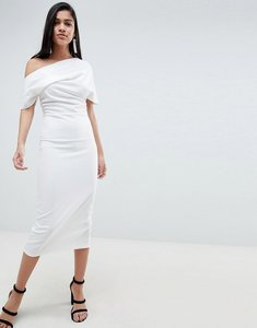 Read more about Asos design pleated shoulder pencil dress - white