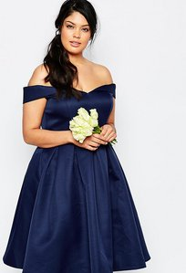 Read more about Chi chi london plus midi prom dress with full skirt and bardot neck - navy