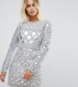 Read more about A star is born embellished mini dress with metallic quilted detail - silver