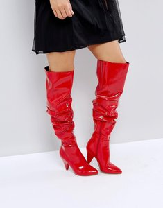 Read more about Miss selfridge over the knee patent boot - red
