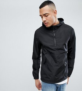 Read more about Asos design tall overhead windbreaker in black - black
