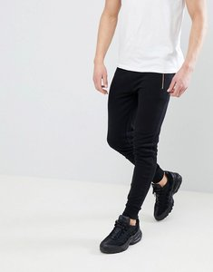 Read more about Asos design super skinny joggers with gold zip pockets in black - black
