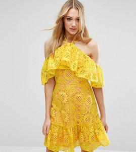 Read more about Asos tall premium lace off shoulder dress with contrast lining - yellow