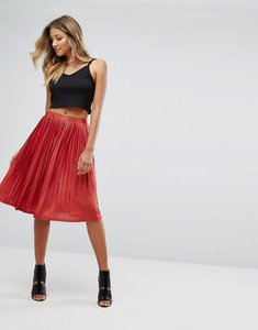Read more about Missguided metallic pleated midi skirt - red