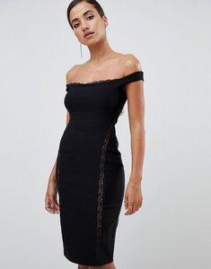 Read more about Vesper lace underlay bardot bodycon midi dress in black