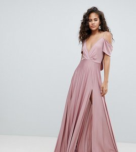 Read more about Asos design tall cold shoulder cowl back pleated maxi dress - rose pink