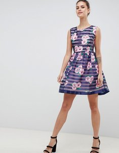 Read more about Zibi london floral striped skater dress - navy