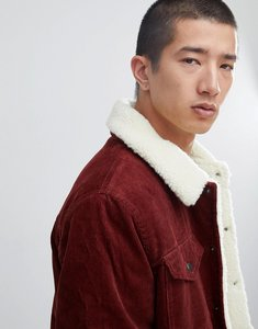 Read more about Asos borg lined cord jacket in rust - rust