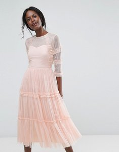 Read more about Lace beads tiered sheer tulle midi dress with 3 4 sleeve - nude