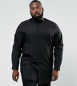 Read more about Asos plus regular fit super longline shirt with grandad collar in black - black