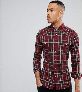 Read more about Asos tall skinny western check shirt - burgundy