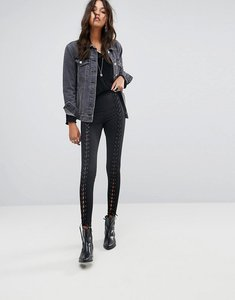 Read more about Glamorous high waist leggings with lace up front - black