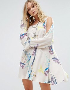 Read more about Free people clear skies cold shoulder printed dress - neutral