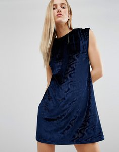Read more about House of holland velvet tuck dress - navy