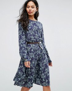 Read more about Closet london belted 3 4 sleeve printed skater dress - multi