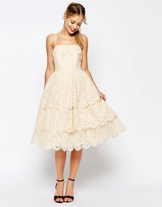 Read more about Asos salon tiered lace midi prom dress - cream