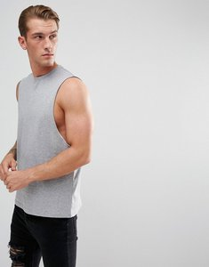 Read more about Asos relaxed vest with dropped armhole in grey - grey marl