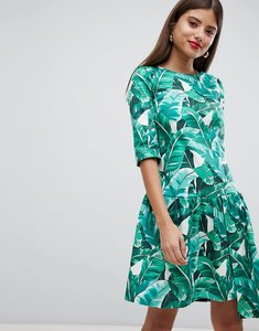 Read more about Closet london drop hem tropical print dress - multi