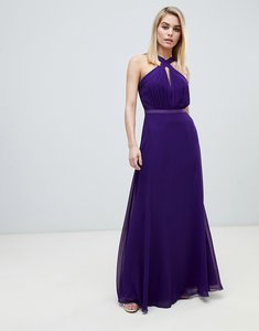 Read more about Little mistress strappy pleated bust maxi dress in purple