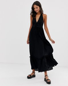 Read more about Asos design halter maxi dress with lace up