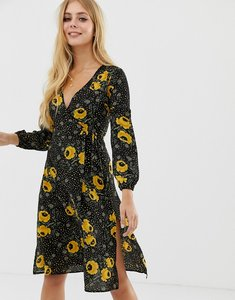 Read more about Brave soul wrap front midi dress in black floral