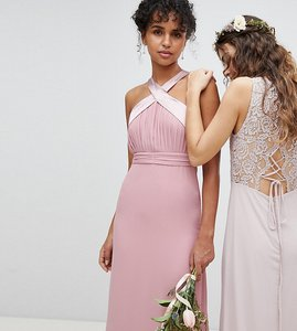 Read more about Tfnc bow back pleated maxi bridesmaid dress - vinatge rose