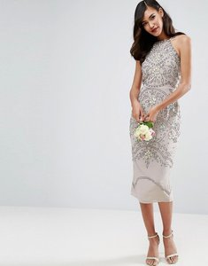 Read more about Asos wedding embellished floral drape back pencil midi dress - grey
