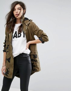 Read more about Missguided khaki embroidered hooded parka jacket - khaki