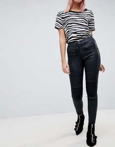 Read more about Asos sculpt me high waisted premium jeans in coated black with biker styling - black
